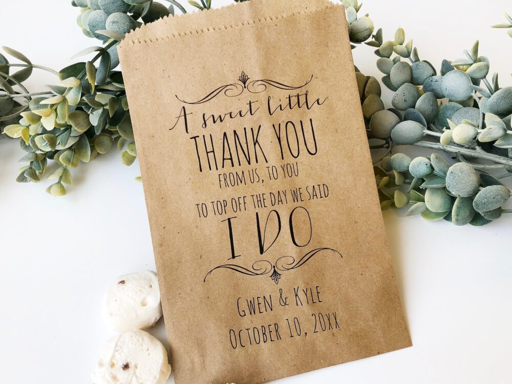 Wedding Favor Bags, Candy Buffet Bar Personalized Treat Custom Pkg Of 25