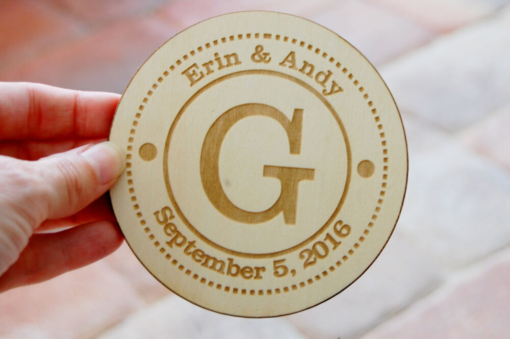 Personalized Wedding Favors, Engraved Wood Coasters, Custom Gift, Bridal Shower Favor, Housewarming Monogram Coasters