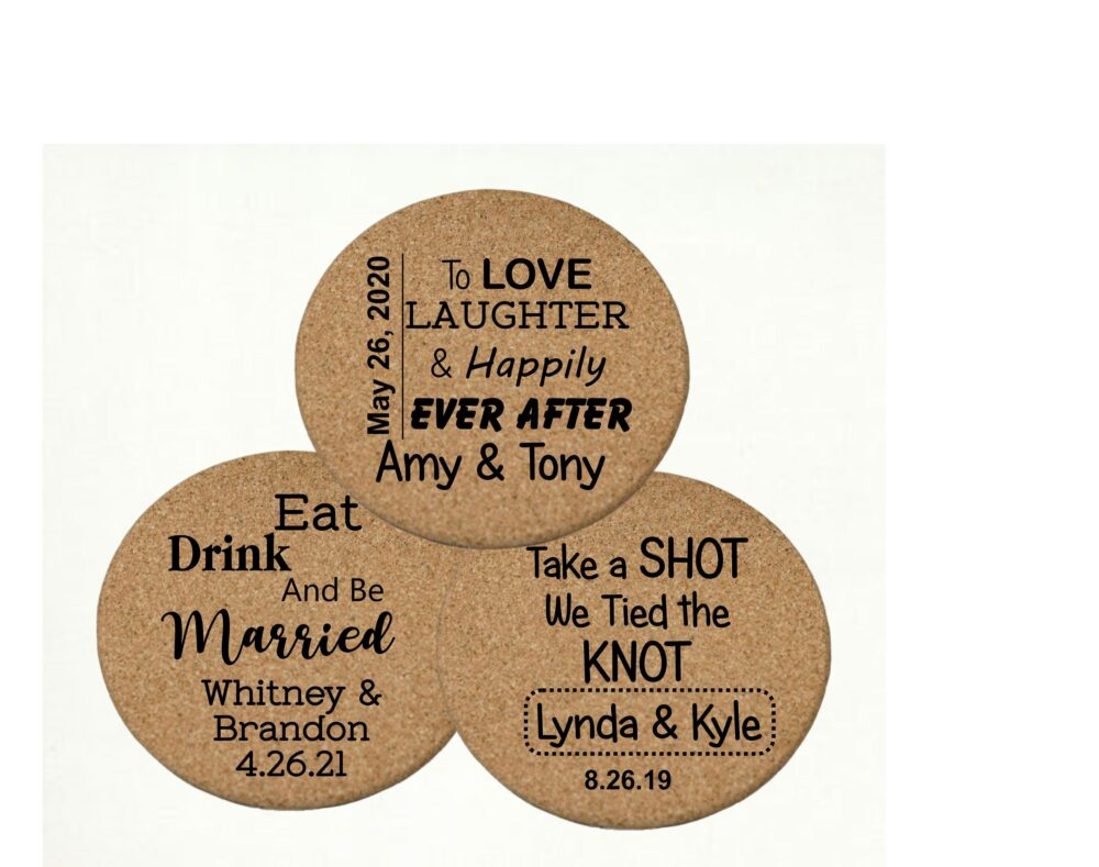 Cork Coasters Wedding Favors For Guests - Coasters, Drink Personalized Coaster & Custom