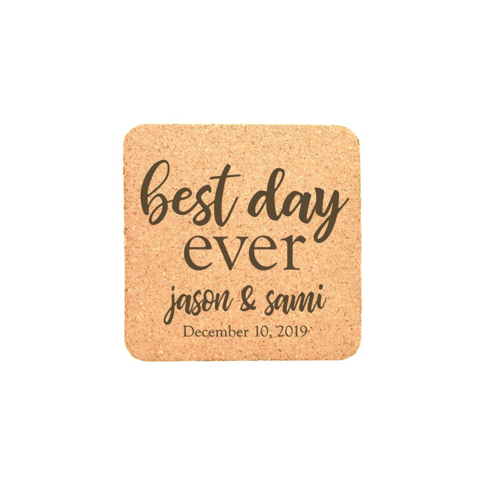 Cork Coaster Set, Engraved Coasters, Wedding Favors, Personalized Party Custom Coasters 22102-Cst2-029