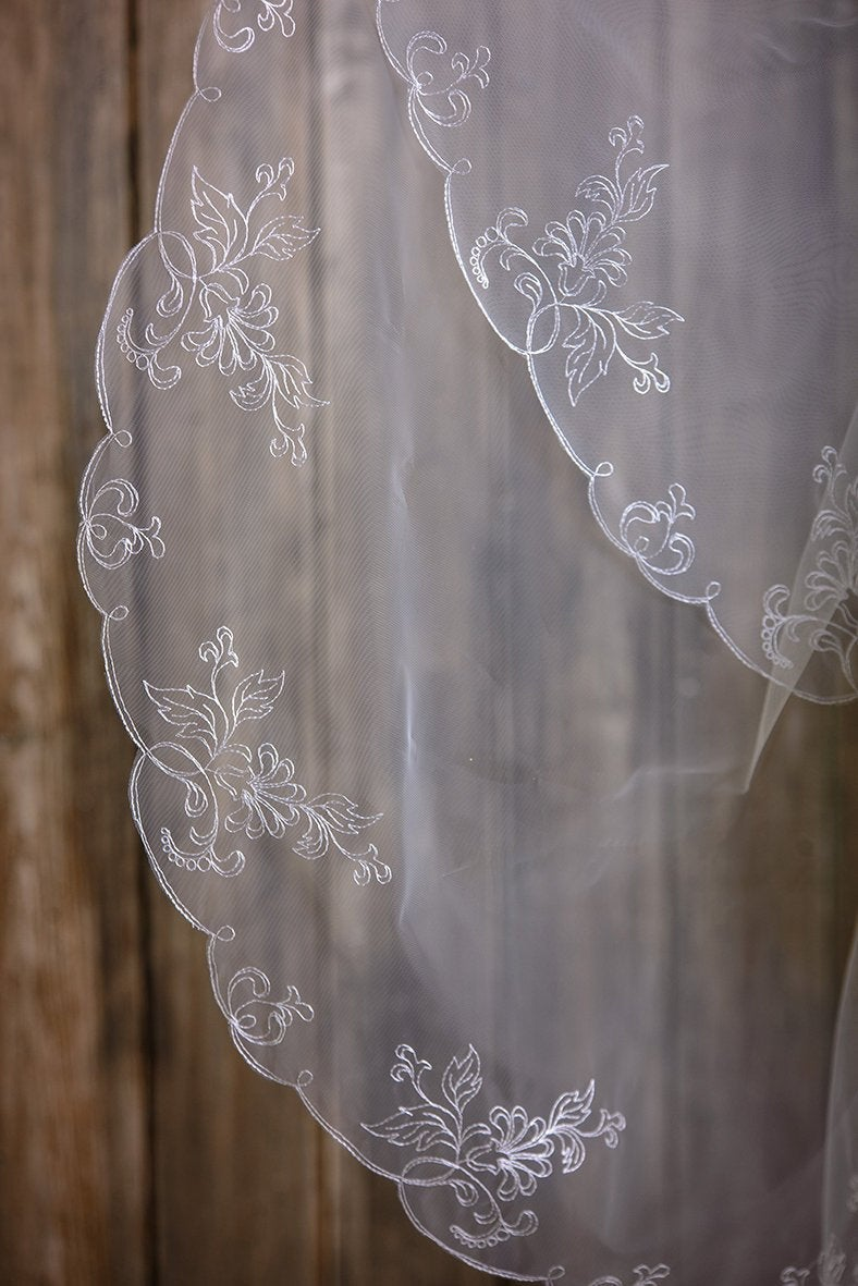Veil, Veil in 2 Tiers, Wedding Veil, Bridal Veil, Two-Tier Veil, Two Tier Cathedral Length, Two Chapel Fingertip Wedding Veil