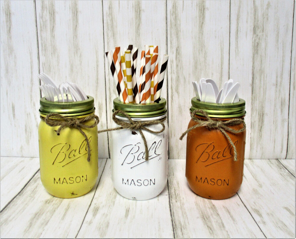 Fall Mason Jar Decor, Party Decorations, Centerpiece, Utensil Holder, Halloween Thanksgiving Decor