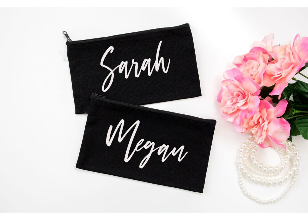 Personalized Cosmetic Bag, Custom Canvas Makeup Pouch, Bridesmaid, Maid Of Honor Proposal Gift, Wedding Day Bridal Party Accessory