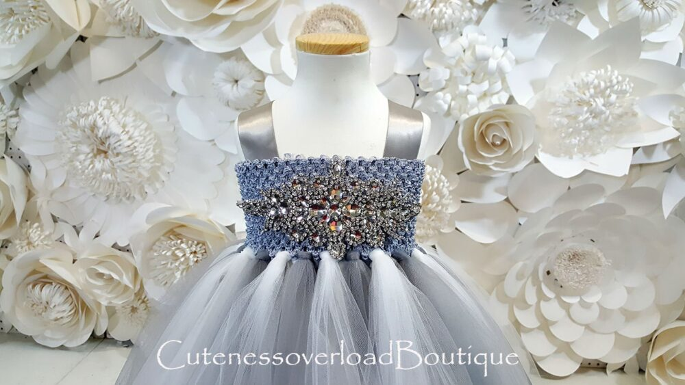 Gray Flower Girl Tutu Dress-Gray Tutu-Gray Birthday Wedding Baby Bride