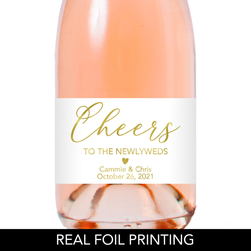 Wedding Champagne Labels, Favor Cheers To The Newlyweds Gold Labels
