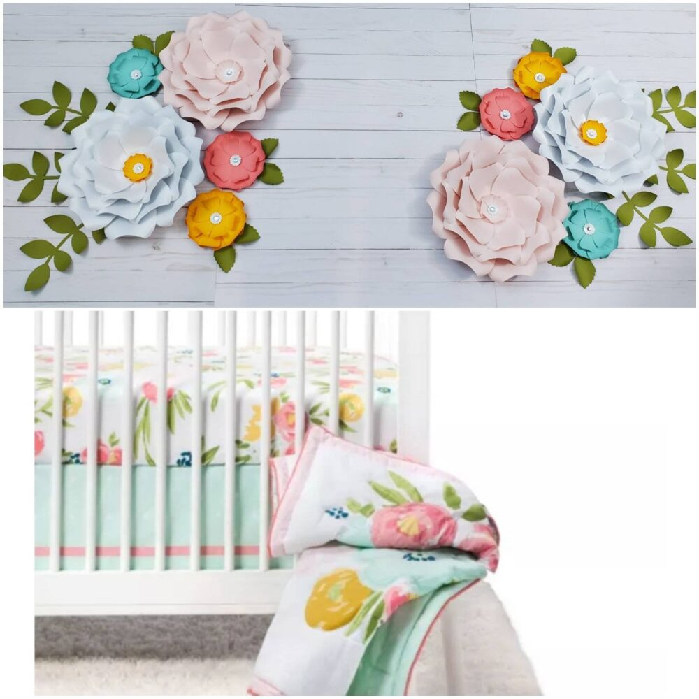 Ten Pink, White & Teal Nursery Flowers. 3D Large Paper Flowers For Wall Inspired By Floral Field Cloud Island