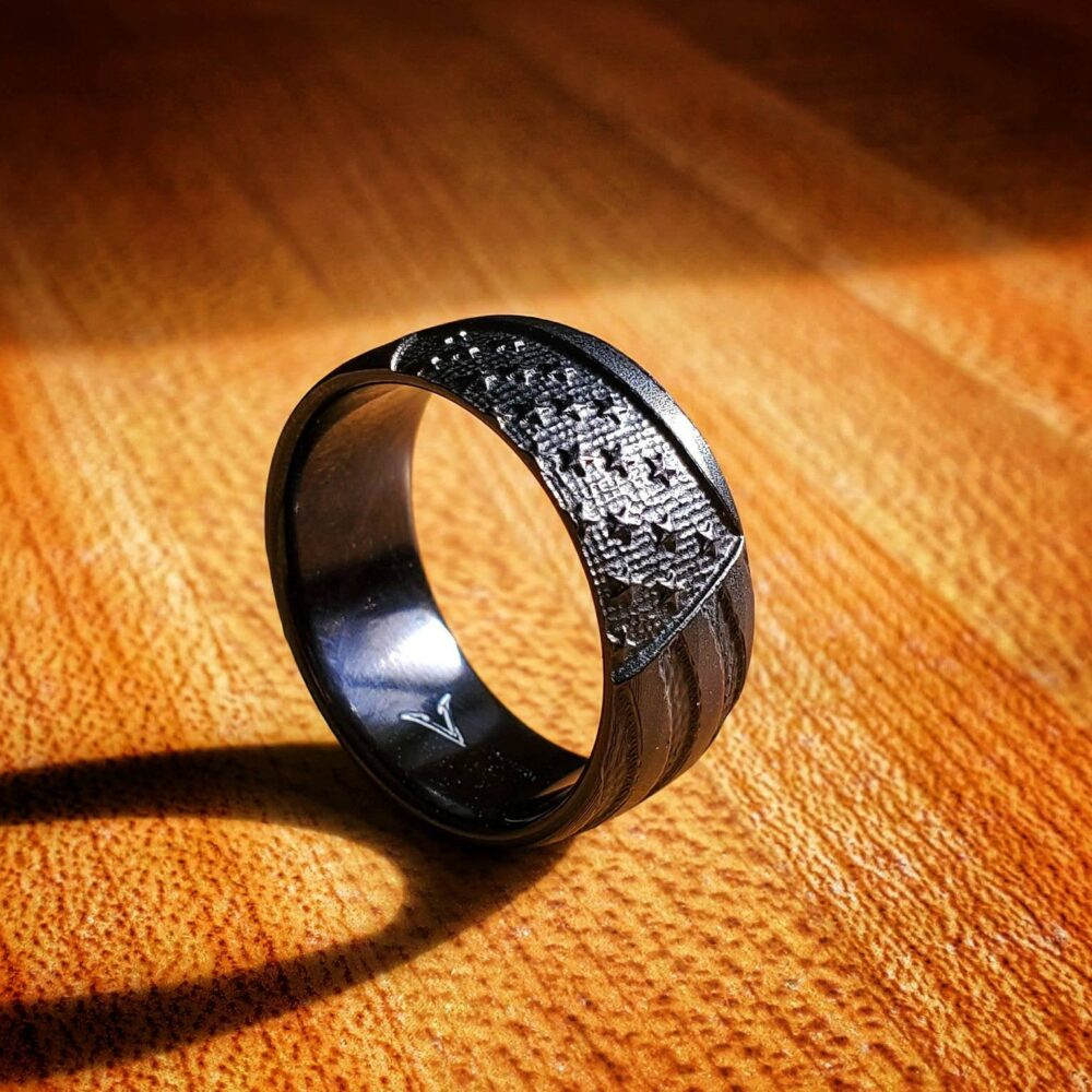 Old Glory, Black-Ti Ring, American Flag 9mm Wide, Satin Black Finish, Tough Patriotic Wedding Band