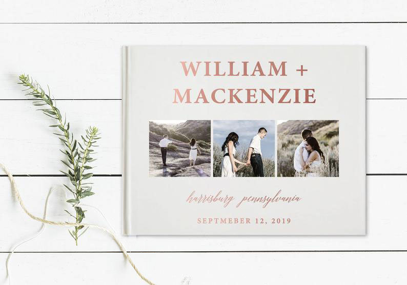 Photo Wedding Guest Book, Calligraphy Guestbook, Personalized Hardcover Real Foil 116