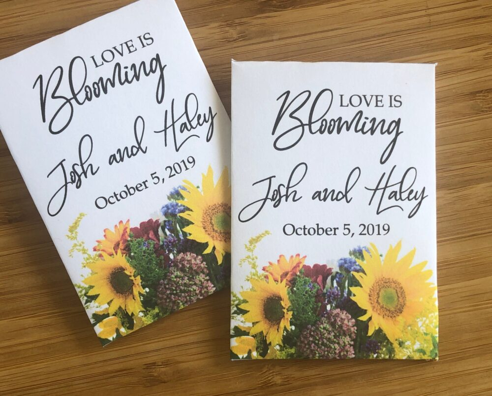 Sunflower Bouquet Wedding Favors, Fall Packets Of Sunflower Seeds, Custom Wedding Favors, Favors