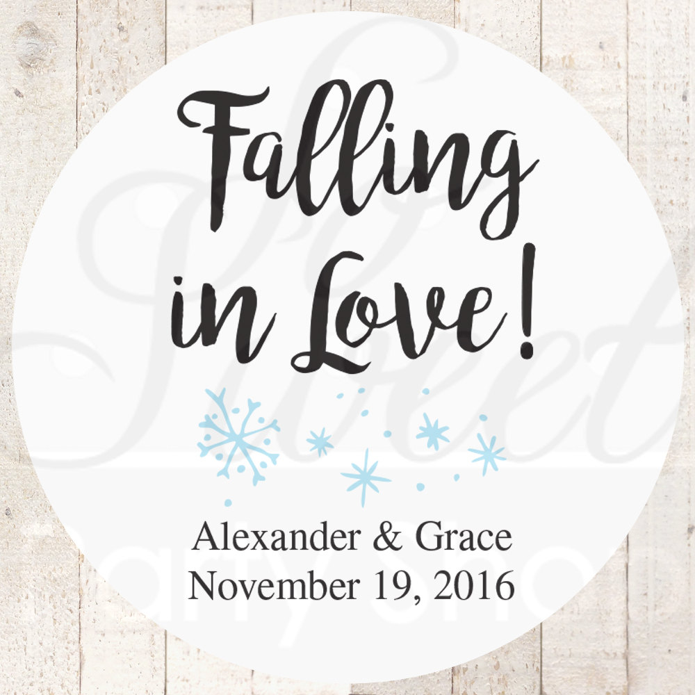 Wedding Favor Stickers, Falling in Love Snowflake Bridal Shower Favors, Bachelorette Party Thank You Labels, Gift Labels - Set Of 24