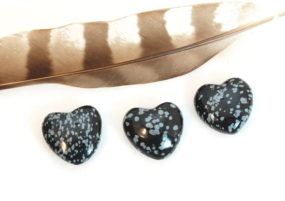 One Snowflake Obsidian Heart Stone | Black White Crystal Wedding Favor, Recovery Gift, Remembrance Chakra Energy Healing