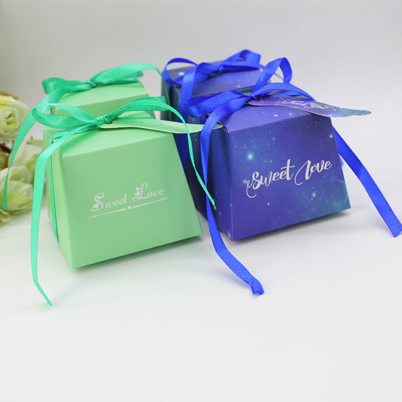 50Pcs, 100Pcs Mint Green & Blue Sky Gift Box With Starry Sky Galaxy Vintage Wedding Candy Favors Gifts Bag Party Decoration