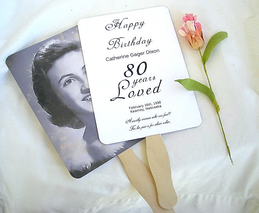 Birthday Photo Fan 80Th 50Th Favors Party Decor Anniversary Wedding Favor Fans Custom