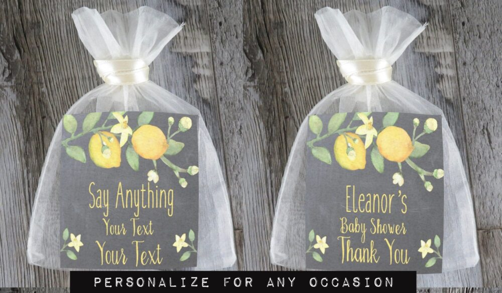 Tea Favors 10 Personalized & Fully Assembled | Any Occasion Wedding Favor Party Bridal Shower Chalk Lemon Branch - Tf Clc