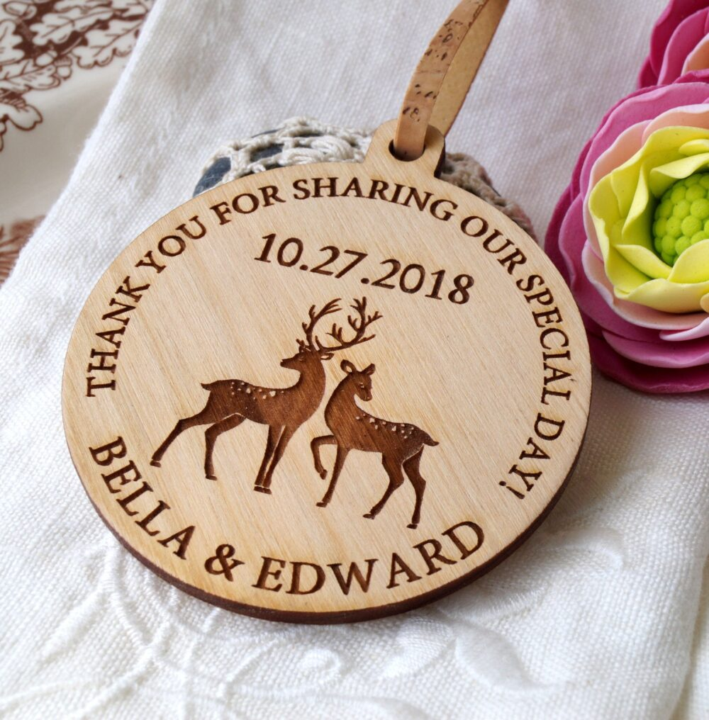 Wedding Ornaments, Wedding Favors, Wooden Personalized Thank You Gifts For Guests, Favor Set Of 25 Pc