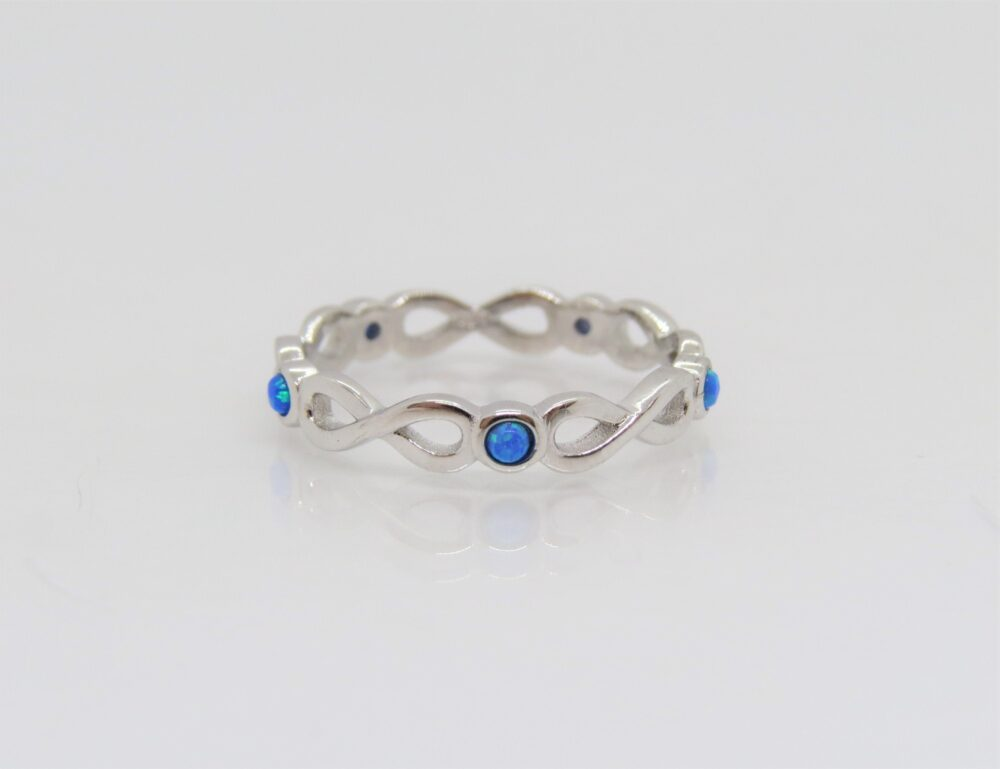Vintage Sterling Silver Blue Opal Infinity Band Ring Size 8