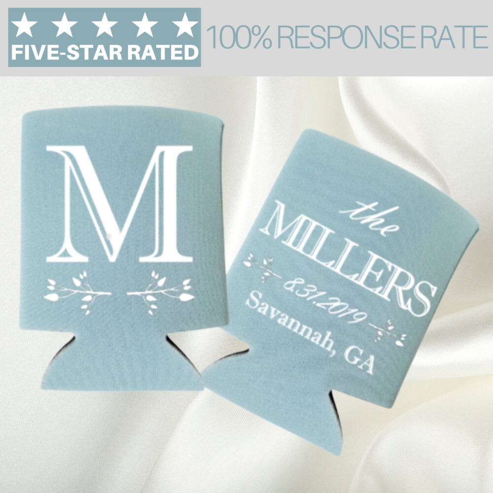 Personalized Can Coolers, Wedding Favors, Monogrammed Cooler, Custom Gift