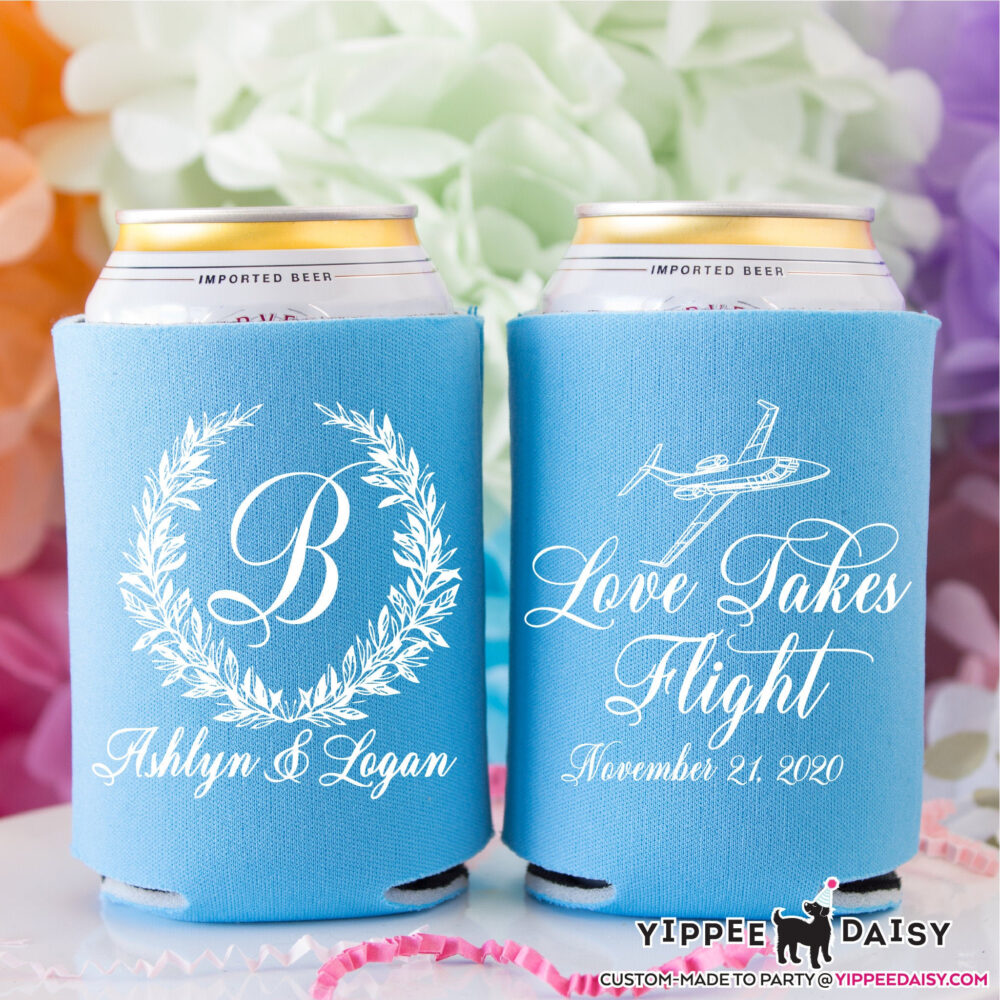 Monogram Wreath Can Cooler, Love Takes Flight, Airplane Wedding Personalized Coolers, Party Favors