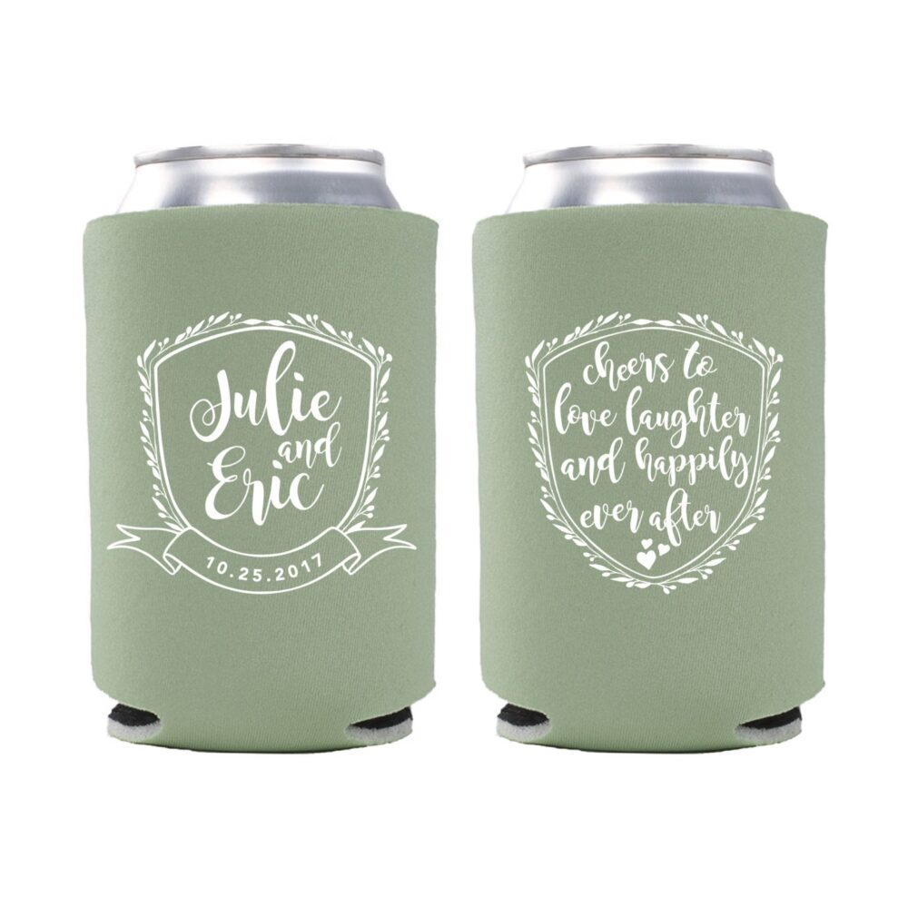 Love, Laughter & Happily Ever After, Wedding Favor, Personalized Can Cooler, Custom Cheers To Love - T385