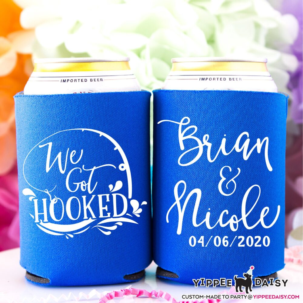 Wedding Favors For Weddings Personalized Can Cooler Custom Favor Beer We Got Hooked Giveaway