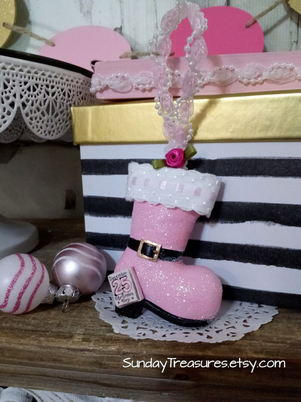 Pink Santa Boot Christmas Ornament/Rose & White Embroidered Lace Trim Romantic Dreamy Pastel Decor