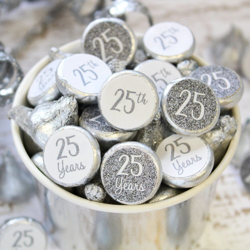 25Th Anniversary Decorations - Silver Wedding Party Favors Hershey Kisses Favor Stickers 180Ct
