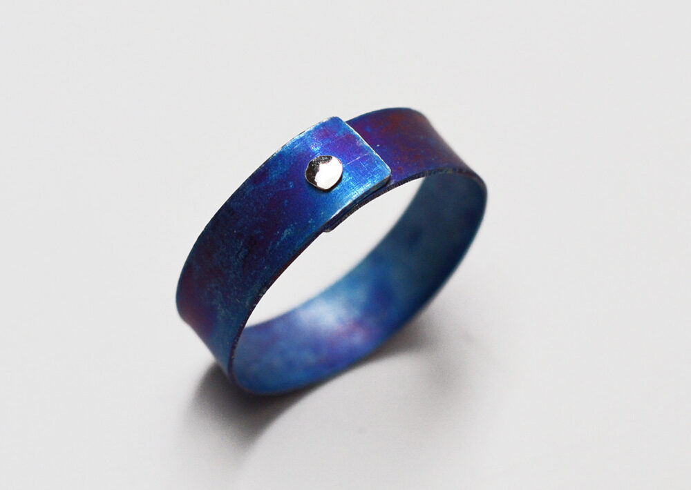 1/4 Inch Wide Heat Anodized Titanium Single Sterling Silver Rivet Narrow Band Ring - Size 9 Ready To Ship