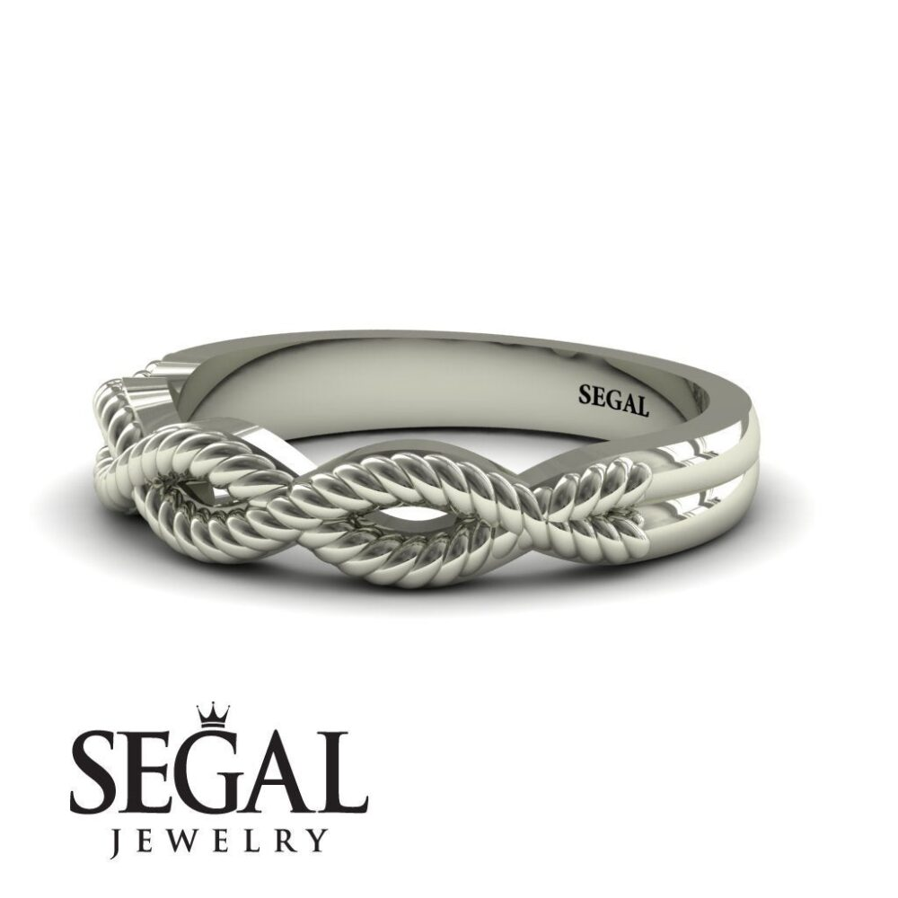 Mens Wedding Band White Gold Unique Ring Gift For Him Unisex Luxury