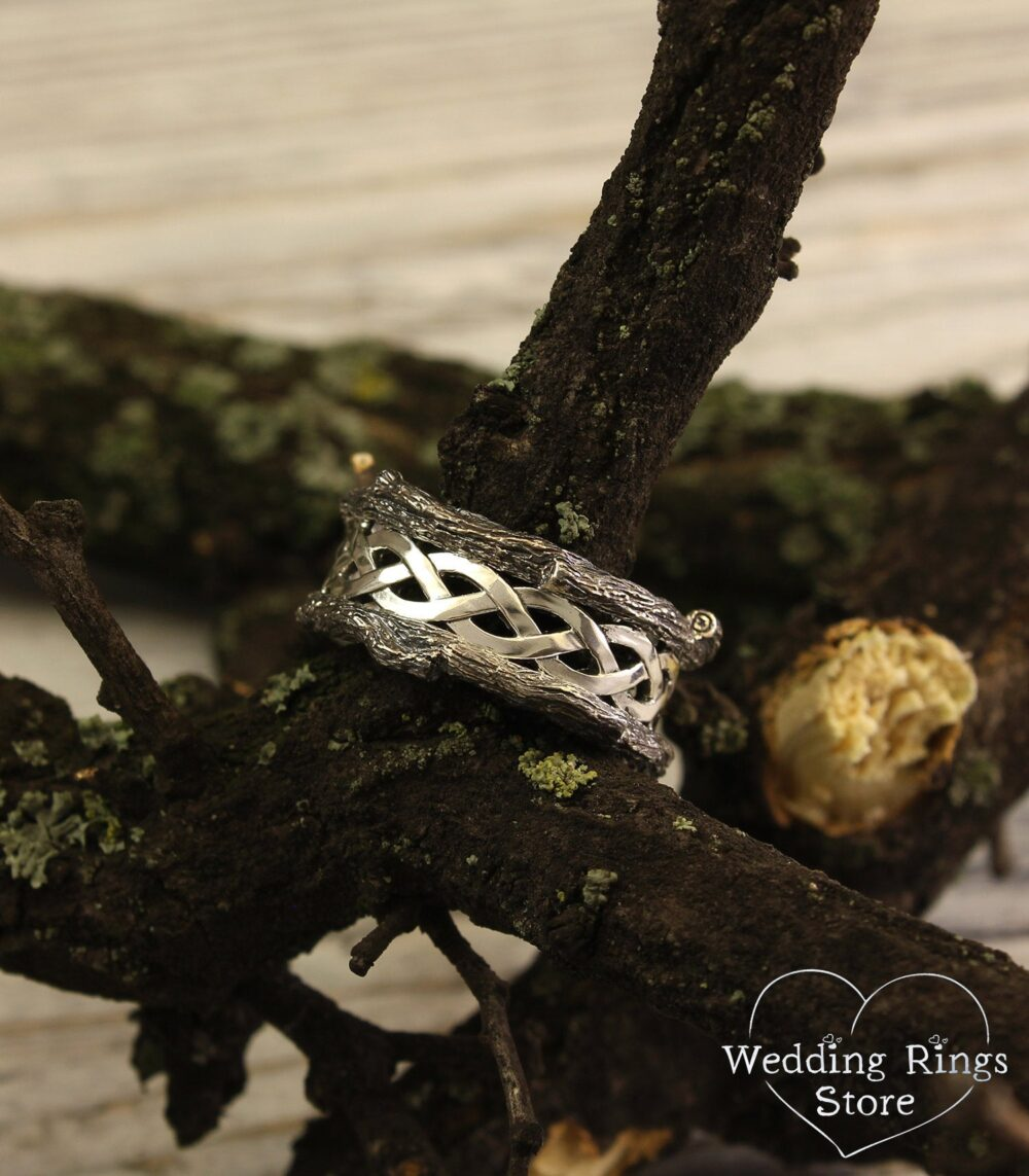 Mens Branch White Gold Wedding Band, Braided Tree Unique Bark Ring, Twist Wild Unusual Ring