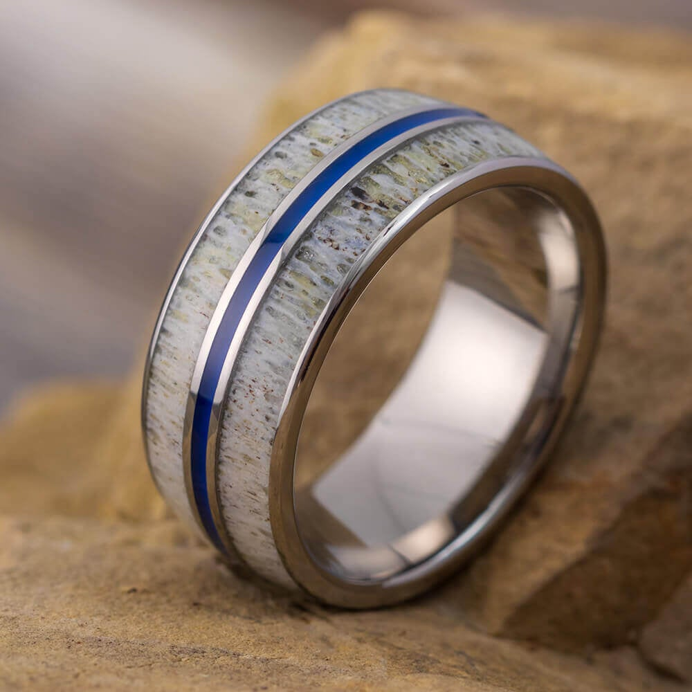 Deer Antler Wedding Band With Blue Enamel Pinstripe