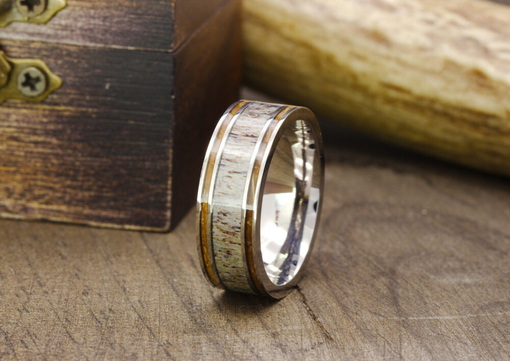 Mens Outdoorsman Ring, Deer Antler Antler Wedding Band, Wood Inlay Wedding