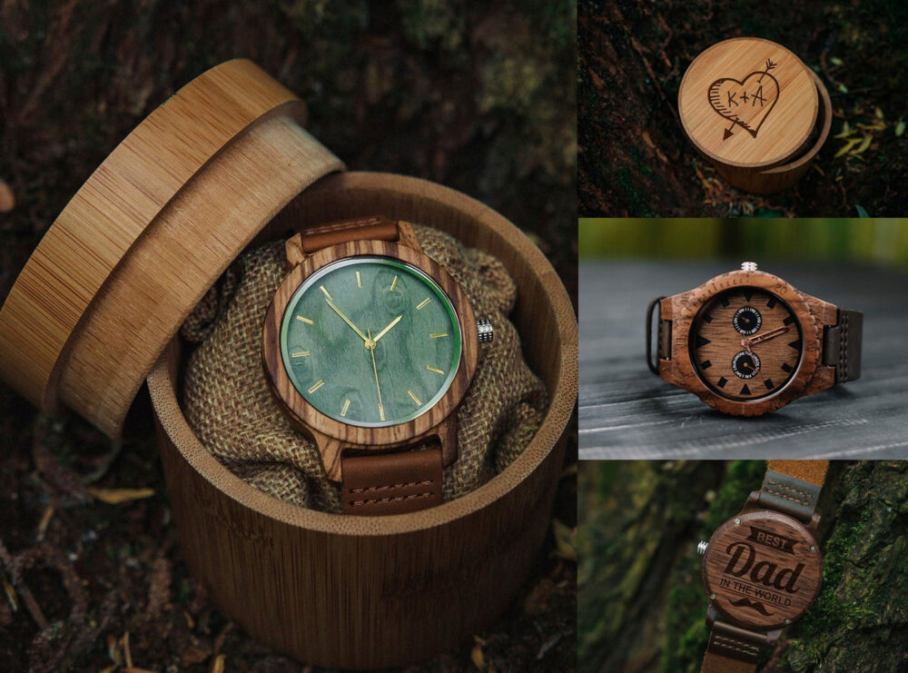 5Th Anniversary Gift For Him, Watch & Box, 5Th Husband, Wedding Groom, Wood Watches Him, Monogrammed Watch