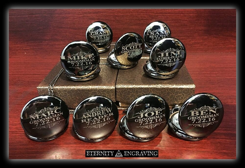 10 Groomsmen Gifts- Silver Custom Engraved Pocket Watches - Finish -Personalized Gift -10 Wedding Set