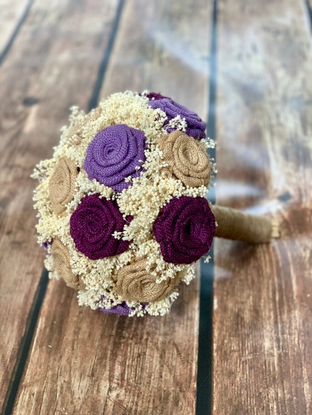 Rustic Burlap Wedding Bouquet With Handmade Burlap Flowers | Choose Size Bouquet, Purple Bridesmaid Bouquet