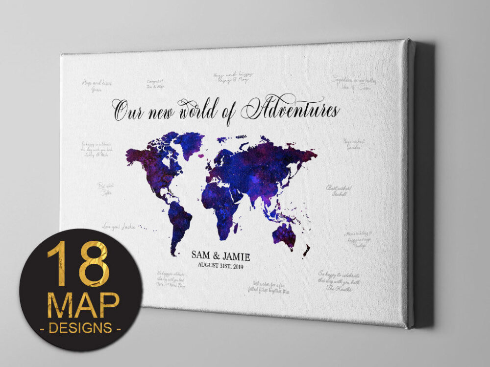 Canvas Guest Book, Destination Wedding World Map Guestbook, Signature Book Alternative, Gift Ideas For Newly Weds - Gb125
