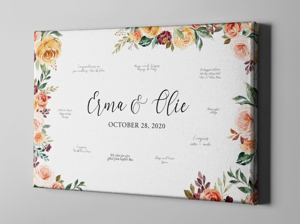 Canvas Wedding Custom Guest Book, Fall Flowers Bridal Shower Autumn Anniversary Guestbook Alternative - Cgb343