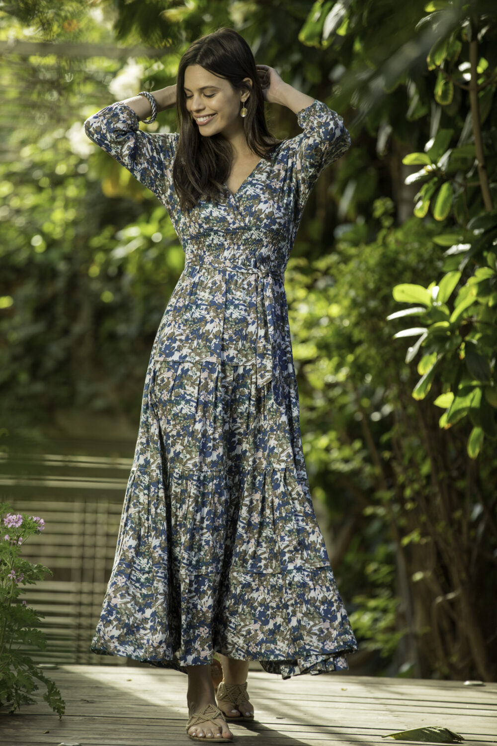 "Romantic Floral 3/4 Sleeves Maxi Dress, Boho Chic Spring Evening Empire Waist ""Carrie"" Special Occasion Mid Day Dress"