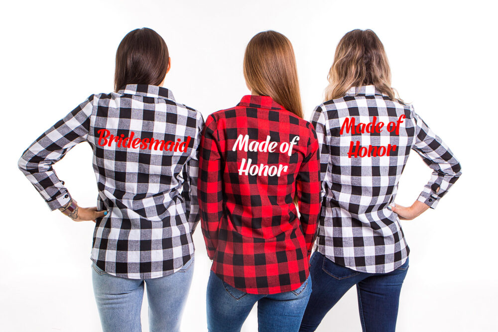 Bridesmaid Flannel, Shirts, Plaid Bridal Party Flannel Shirts, Customized Buttons Down Shirts