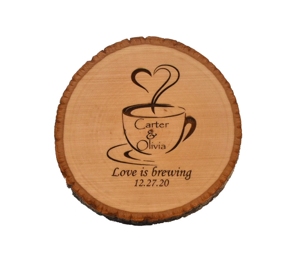 Custom Engraved Wood Slice Wedding Coasters - Love Is Brewing Bulk Favor Coffee Cup Coaster