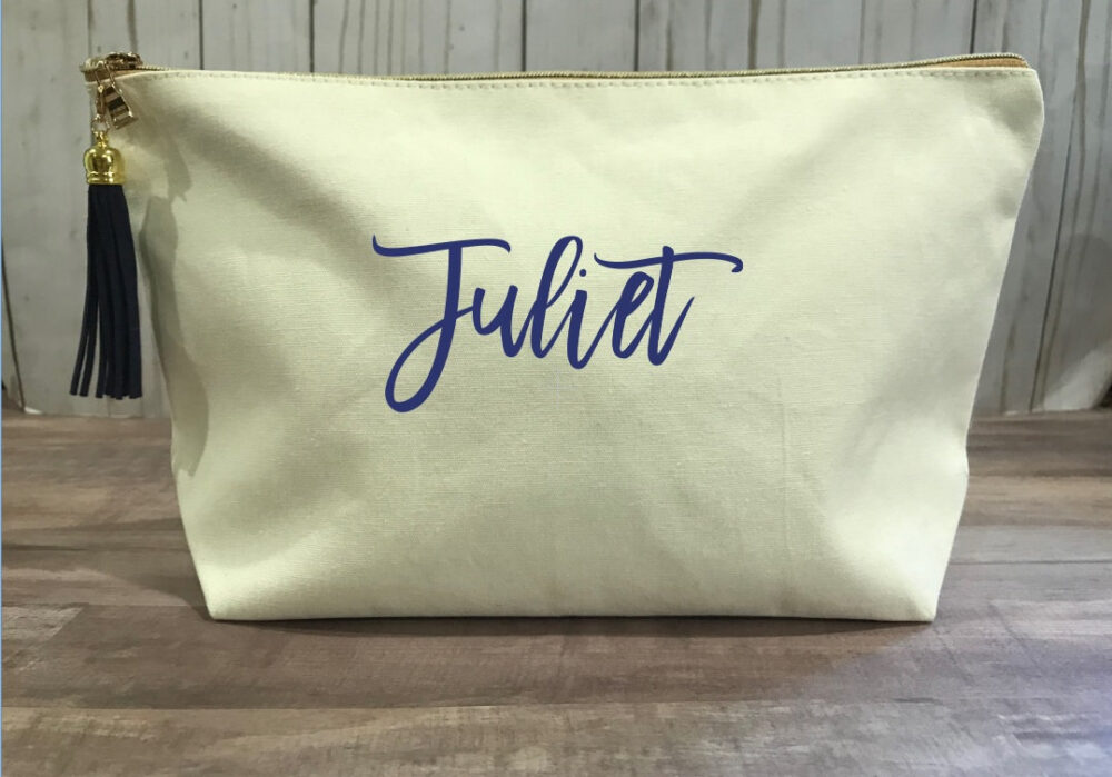 Large Personalized Natural Canvas Makeup Bag For Bridesmaids, Neutral Cosmetic Bag, Bachelorette Party Favors, Wedding Gift For Bride