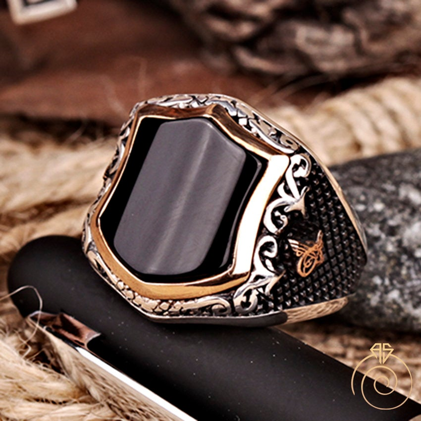 Mens Onyx Rings, Black Stone Silver Statement Ring, Celtic Vintage Signet Viking Warrior Manly Infinity Band Can Be Gold Custom Made