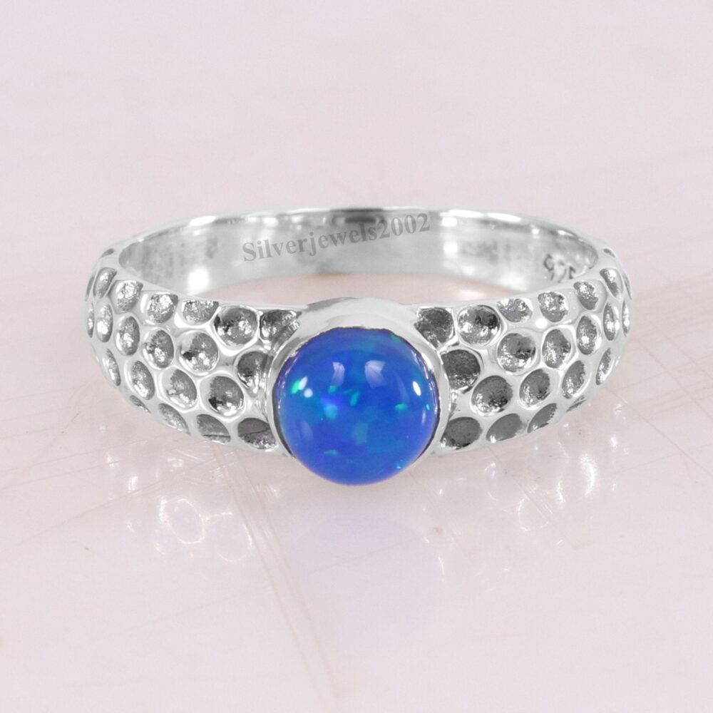 Natural Blue Opal Handmade Sterling Silver Statement Ring-925 Hammered Band Ring-Blue Ring-Tiny Gift Ring Jewelry