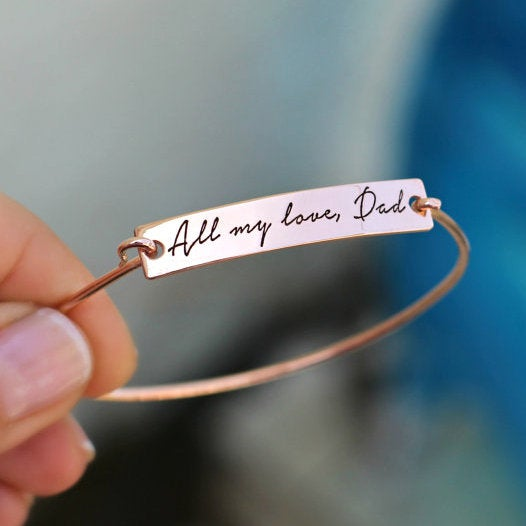 Custom Handwriting Bangle, Personalized Signature Bracelet, Engraved Jewelry, Handwritten Mothers Jewelry Gift