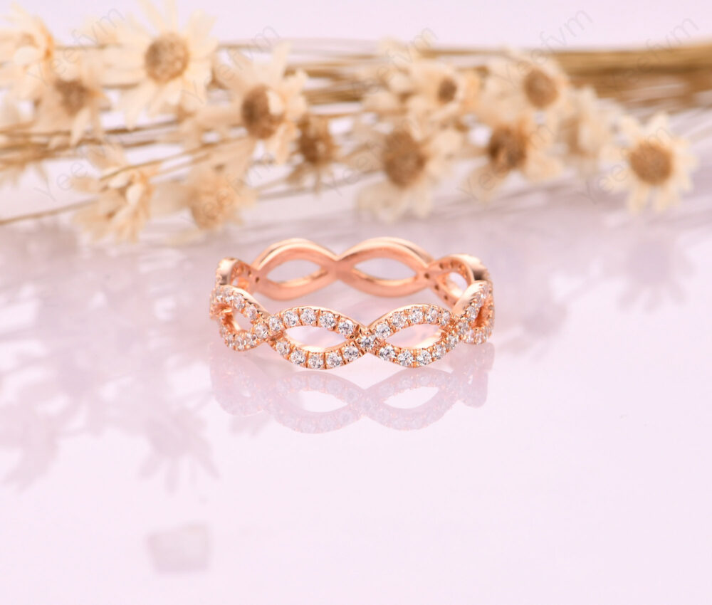 Rings For Women/ Cross Band Wedding Ring/ Delicate Bridal Moissanite Matching Band/ 18K Solid Gold Vintage Style Jewelry