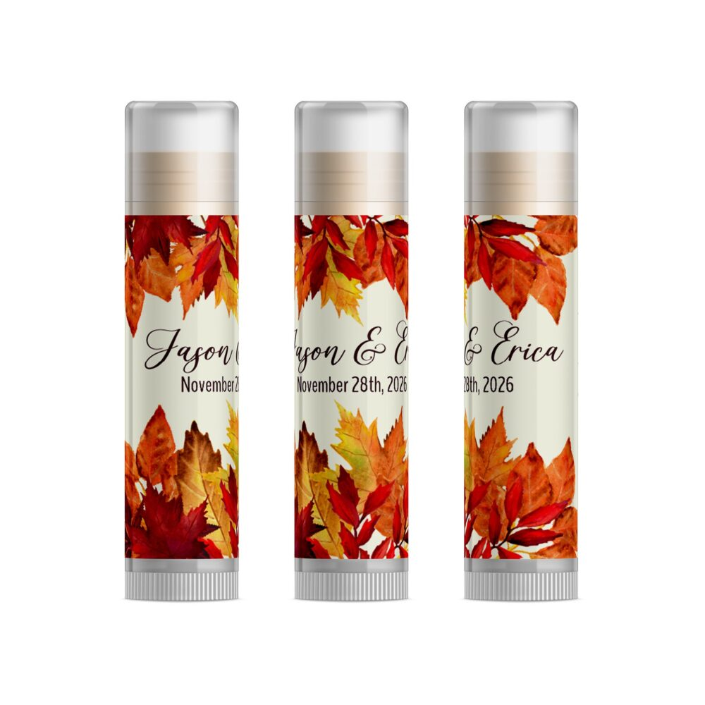 Fall Wedding Favors, Autumn Leaves Lip Balm, Friendsgiving Party Bridal Shower, Rustic Favors For Guests, Set Of 15