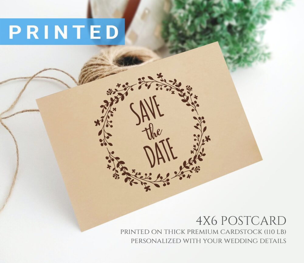 Wedding Save The Date Postcard Printed On Kraft Paper | Rustic Wreath Save Date Postcards Personalised Cards