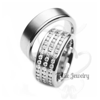 Platinum Diamond Eternity Wedding Rings, His & Hers Bands, Matching Rings Set, Bands
