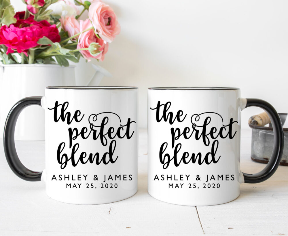 Personalized Coffee Mug, Bridal Shower Gift, Couples Perfect Blend, Cute Bride Groom Cups, Engagement Gift For Fiancee, Husband