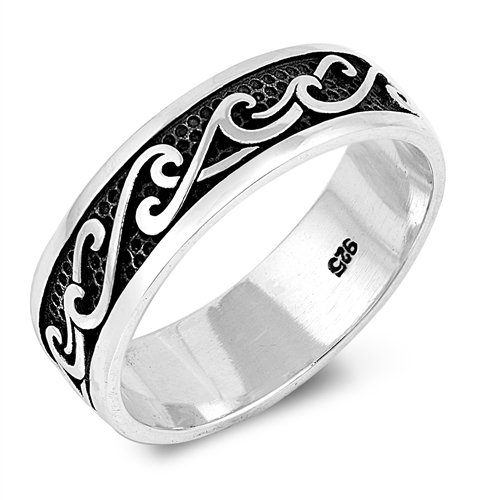 Wave Ring, 925 Sterling Silver Custom Promise Purity Oxidized Ring, Friendship Gift For Him, Free Engraving