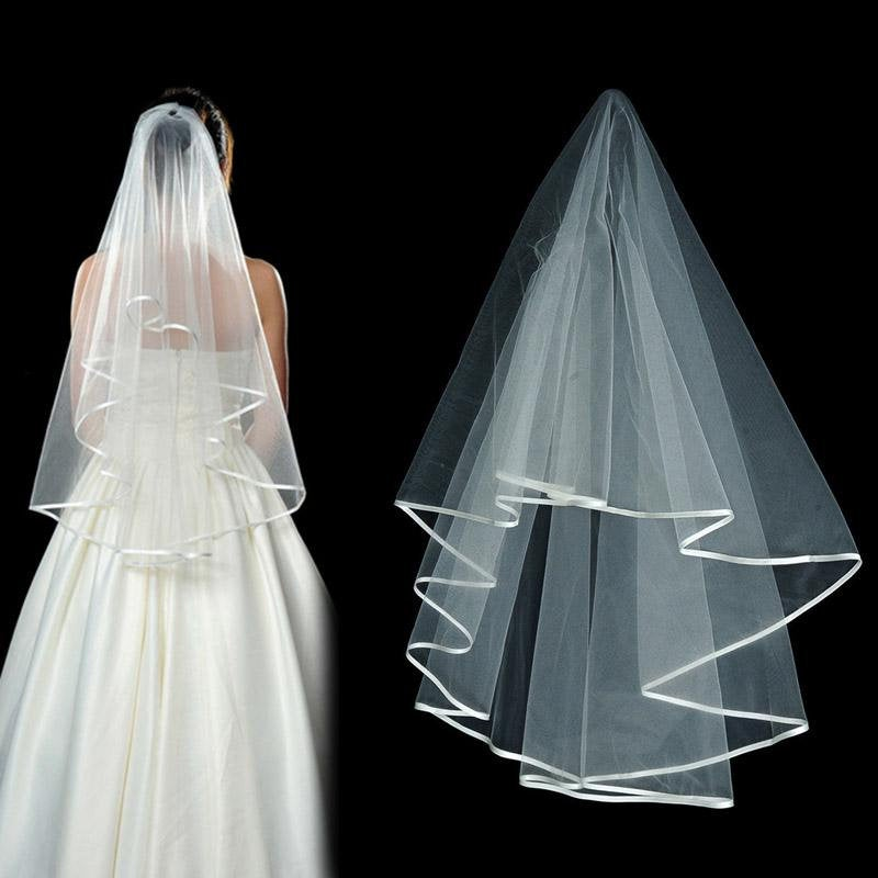 White 2 Tier Veil Wider Satin Ribbon Trim